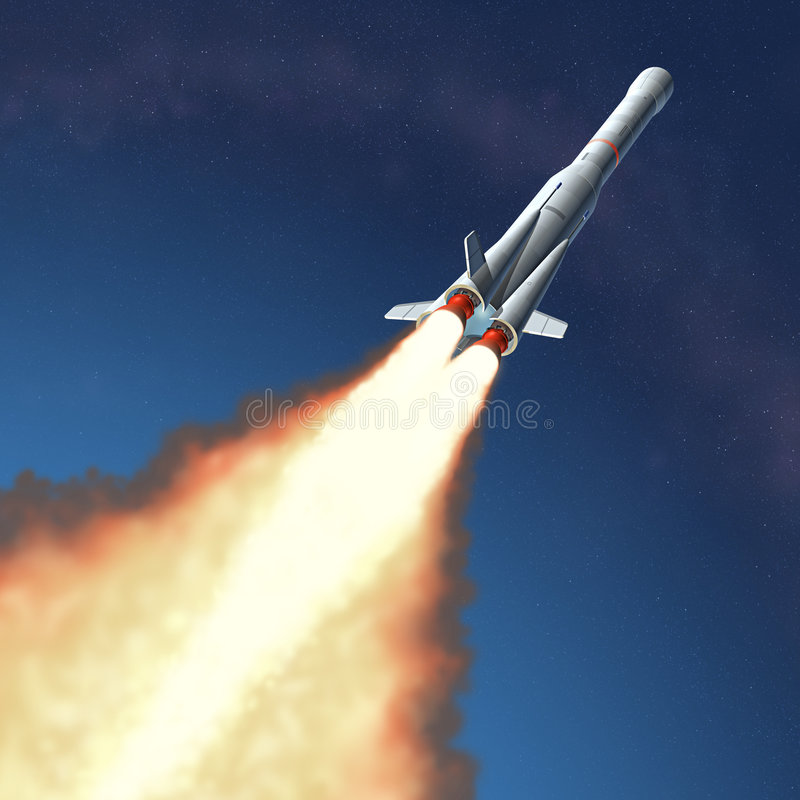 Lançamento de Rocket ilustração royalty free