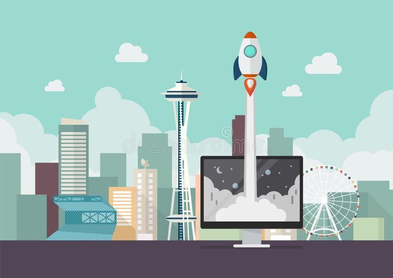 Lançamento de Rocket do conceito da partida de negócio do monitor ilustração royalty free