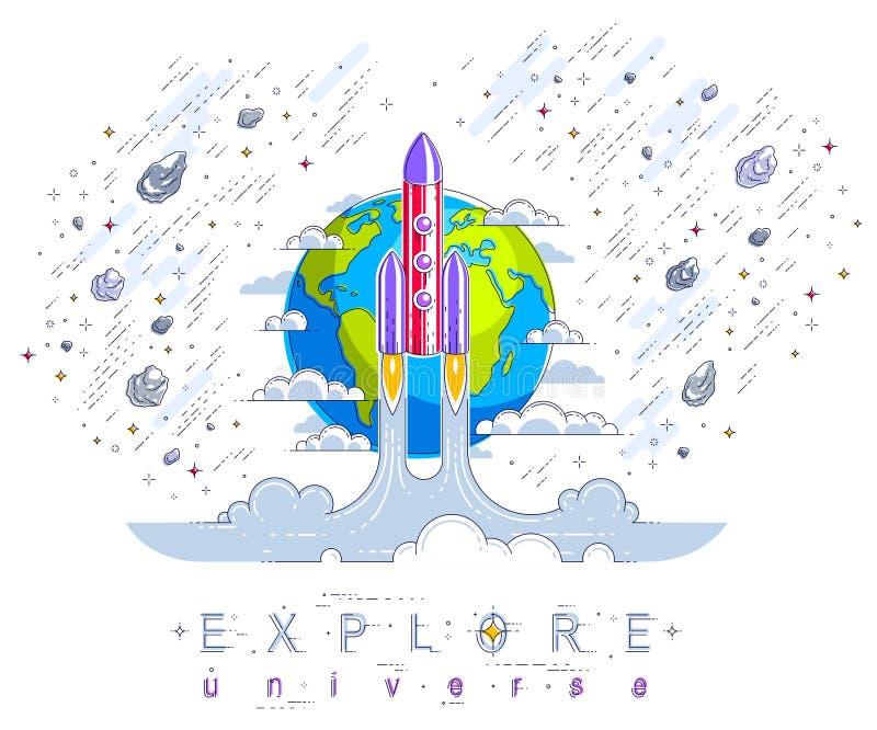 Lançamento de Rocket em espaço não descoberto com terra do planeta no backg ilustração stock