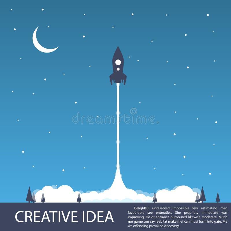 Lançamento do foguete de espaço ilustração royalty free