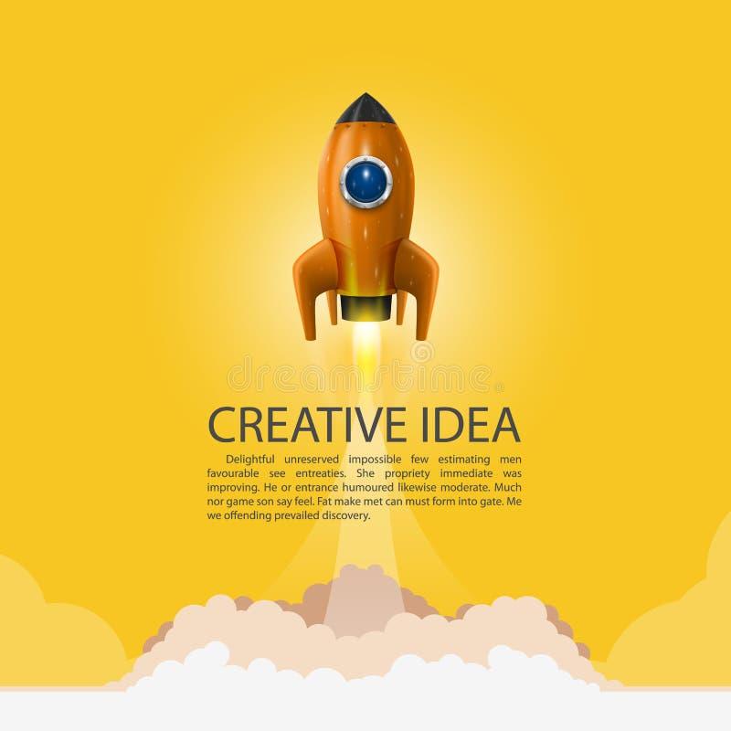 Lançamento do foguete de espaço Fundo de Rocket, tampa do produto de Rocket, ideia criativa Startup, ilustração do vetor ilustração do vetor