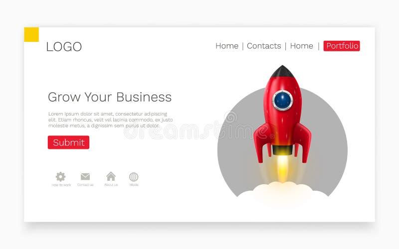 Lançamento do foguete de espaço Ideia criativa Startup Conceito da página da aterrissagem ilustração royalty free