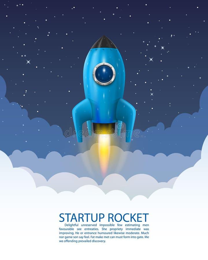 Lançamento do foguete de espaço, ideia criativa Startup, fundo de Rocket, ilustração do vetor ilustração do vetor