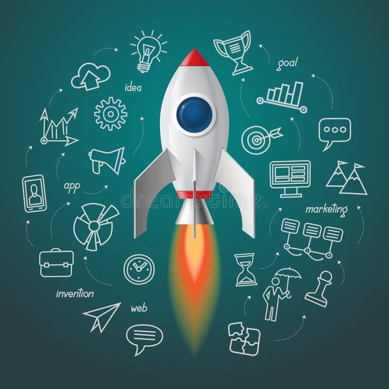Lançamento do foguete de espaço O projeto do negócio começa acima ilustração royalty free