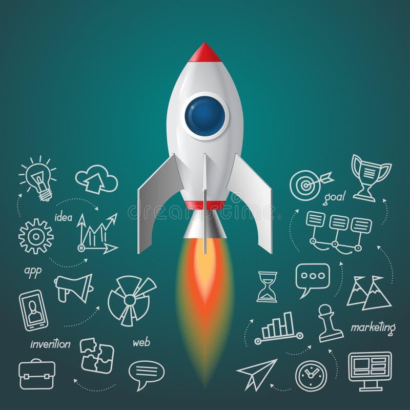 Lançamento do foguete de espaço O projeto do negócio começa acima o conceito ilustração stock