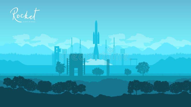 Lançamento do foguete de Soyuz ilustração royalty free