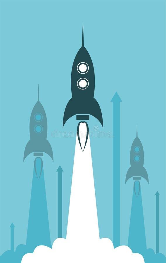 Lançamento do foguete do grupo ilustração royalty free
