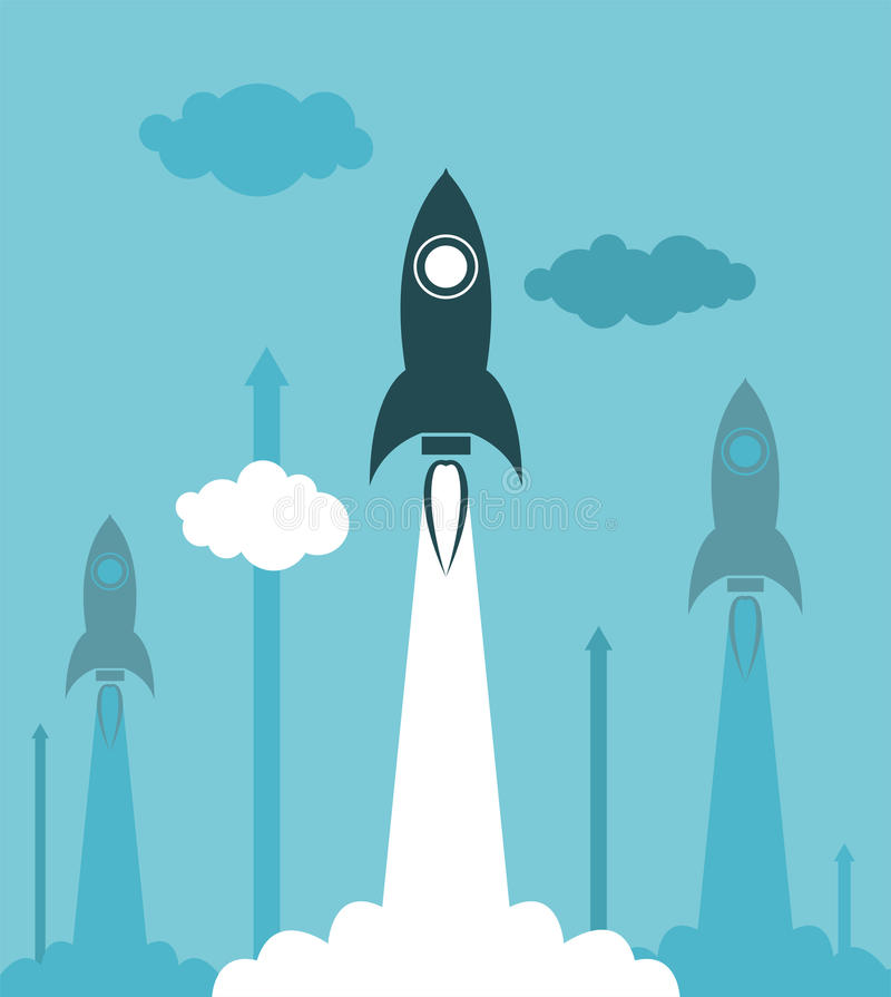 Lançamento do foguete do grupo ilustração stock
