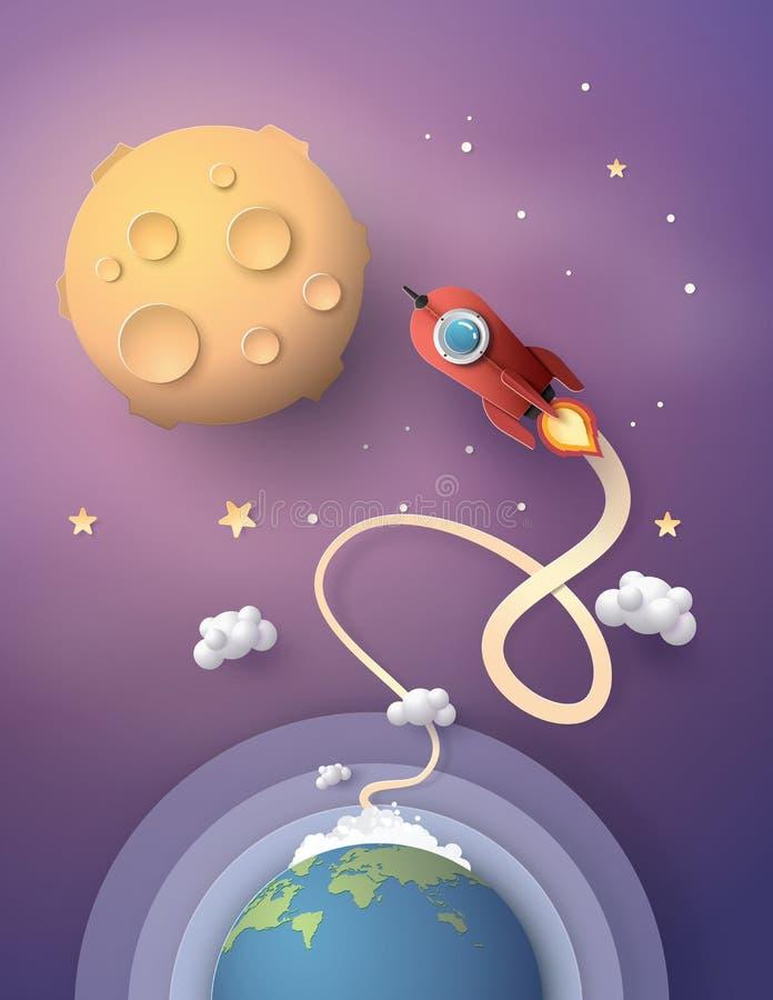 Lançamento e galáxia do foguete de espaço ilustração royalty free