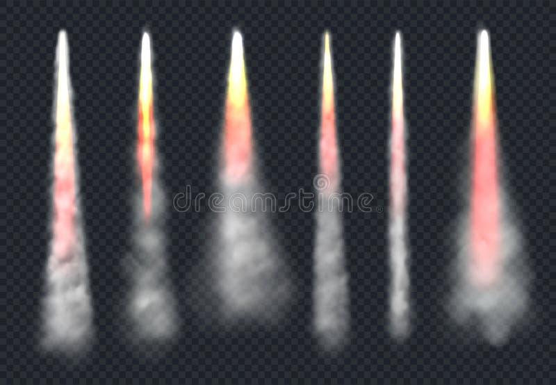 Lançar fumaça de foguete Modelos realistas do vetor de vapor e do vetor de vapor que fluem a velocidade de incêndio ilustração do vetor