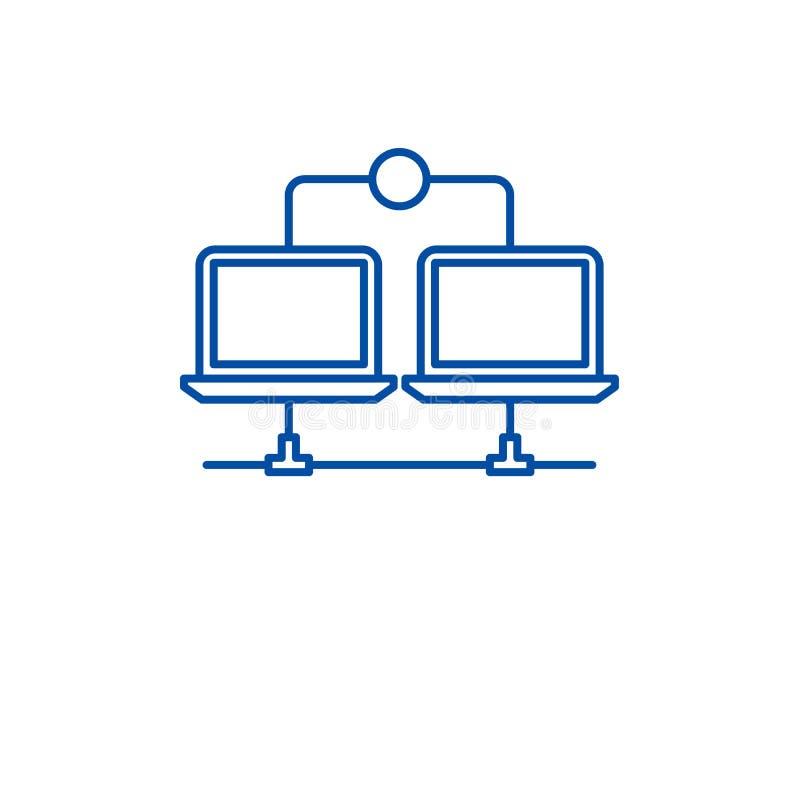 Lan网络线象概念 Lan网络平的传染媒介标志,标志,概述例证 皇族释放例证