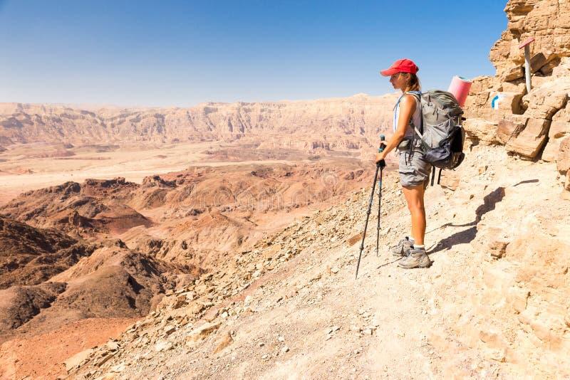 Lan края скалы горы пустыни женщины Backpacker туристский стоящий стоковая фотография rf