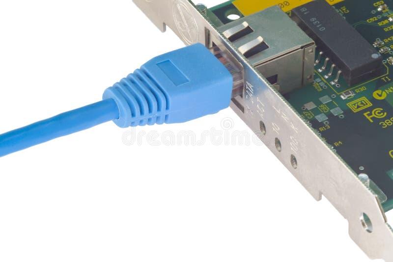 Lan adapter met patchcord royalty-vrije stock afbeelding