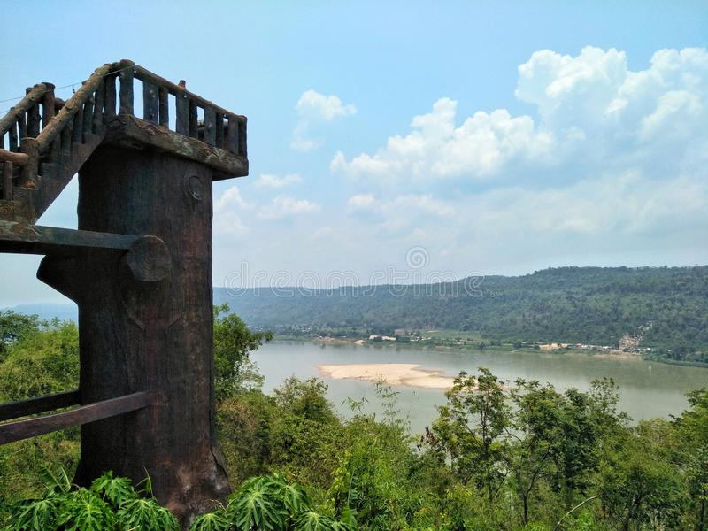 Lan bieng Wiang. View point for looking the Mekong river in Nong Khai of Thailand. Travel, tour, tourism, asia, landscape, scenery, scenic, mountain, forest royalty free stock photos