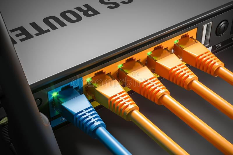 LAN cables plugged in router ports in home server. Macro shot. 3d stock illustration