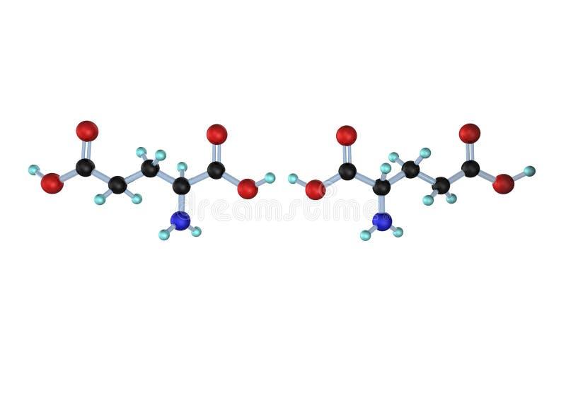 Lan D del ácido glutámico de la molécula stock de ilustración