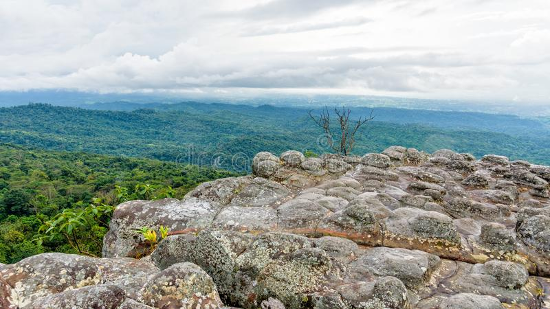 Lan Hin Pum. Beautiful nature landscape of green forests on Lan Hin Pum viewpoint with strange stone shapes caused by erosion is a famous nature attractions of royalty free stock photo