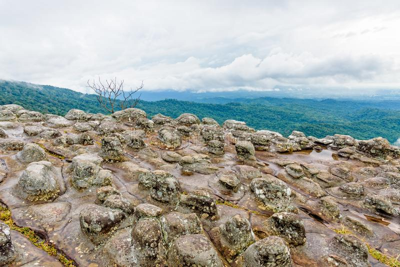Lan Hin Pum. Beautiful nature landscape of green forests on Lan Hin Pum viewpoint with strange stone shapes caused by erosion is a famous nature attractions of royalty free stock images