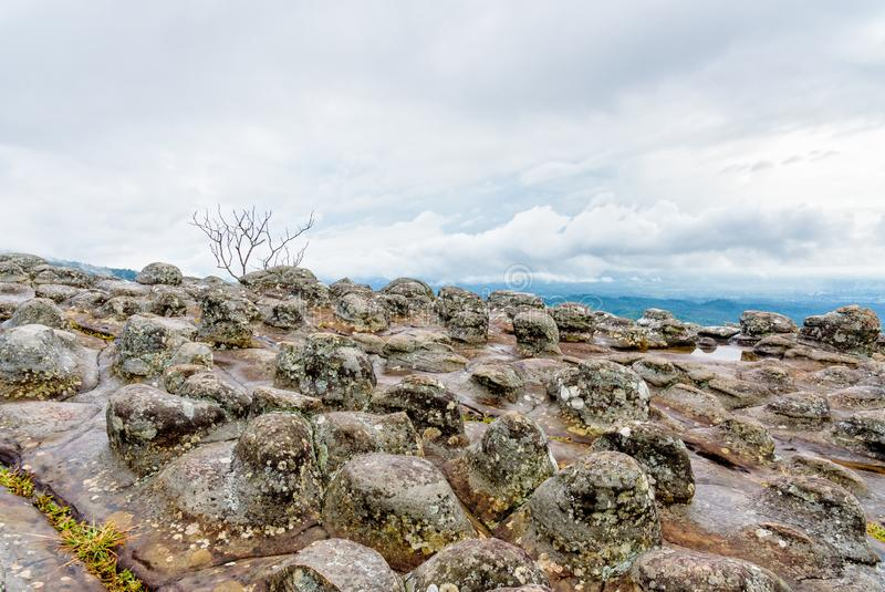 Lan Hin Pum. Beautiful nature landscape of green forests on Lan Hin Pum viewpoint with strange stone shapes caused by erosion is a famous nature attractions of stock images