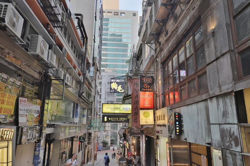 Lan Kwai Fong of the party district hk royalty free stock images
