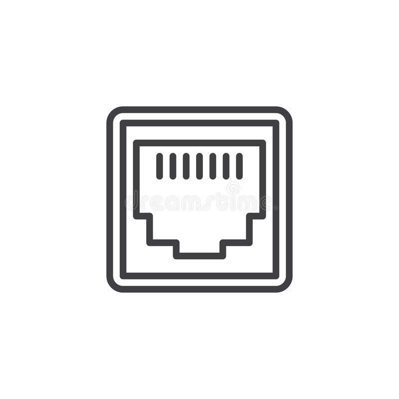 LAN network port line icon. Linear style sign for mobile concept and web design. Ethernet port socket outline vector icon. Local area connector symbol, logo stock illustration