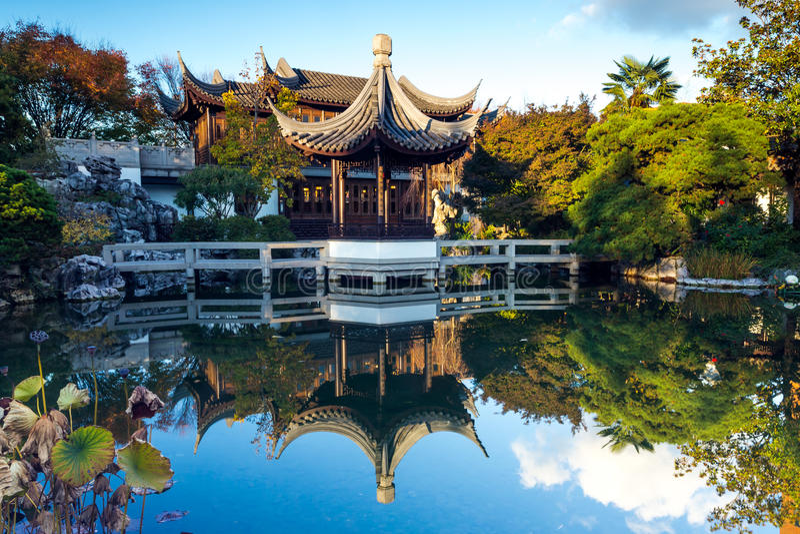 Lan Su中国庭院在波特兰,俄勒冈 库存图片