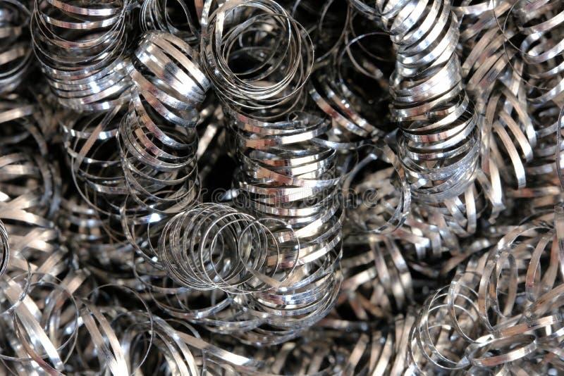 Lana del nastro metallico o trucioli a spirale Macro di alta risoluzione del primo piano fotografia stock