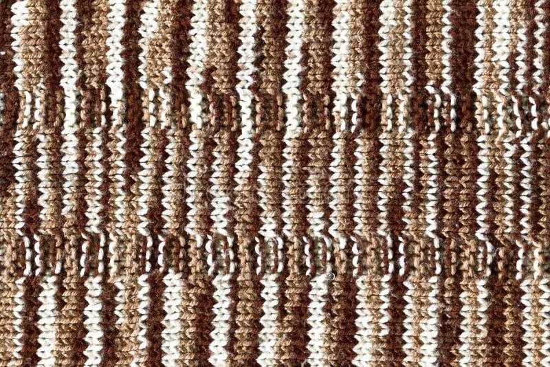 Lanas que hacen punto blancas de Brown, fondos de la textura imagen de archivo libre de regalías