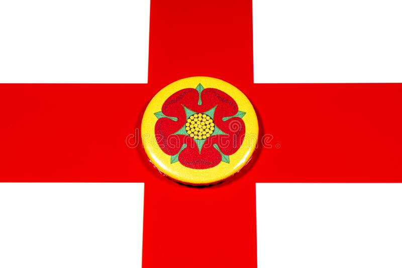 Lancashire in England. A badge portraying the flag of the English county of Lancashire pictured over the England flag royalty free stock photography