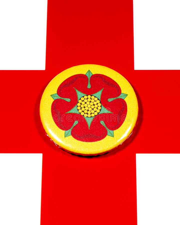Lancashire in England. A badge portraying the flag of the English county of Lancashire pictured over the England flag royalty free stock images