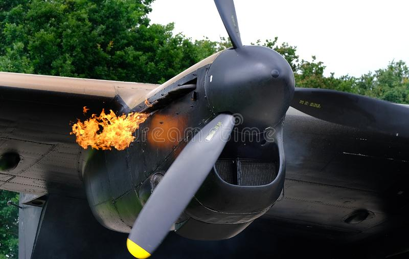 Lancaster bombowiec Merlin parowozowy zaczynać zdjęcie royalty free