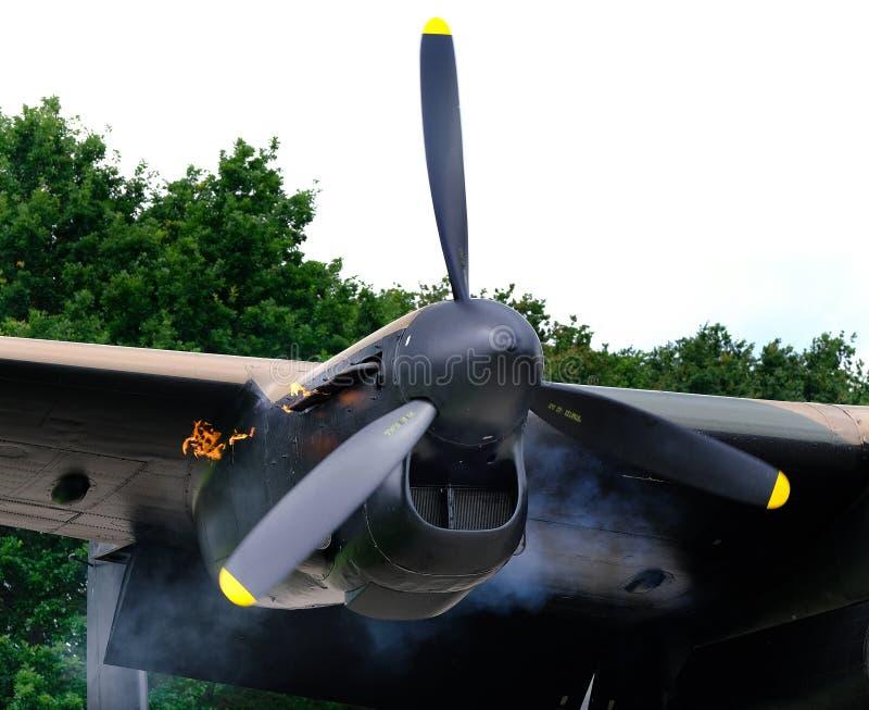Lancaster bombowiec Merlin parowozowy zaczynać fotografia stock