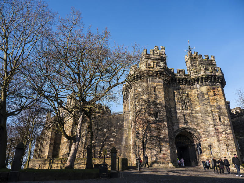 Lancaster castle in England is in the Centre of the City. Long existing as a commercial, cultural and educational centre, Lancaster is the settlement that gives stock photography
