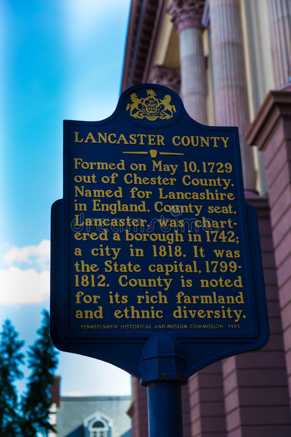 Lancaster County Historic Marker at Courthouse Sign royalty free stock photo