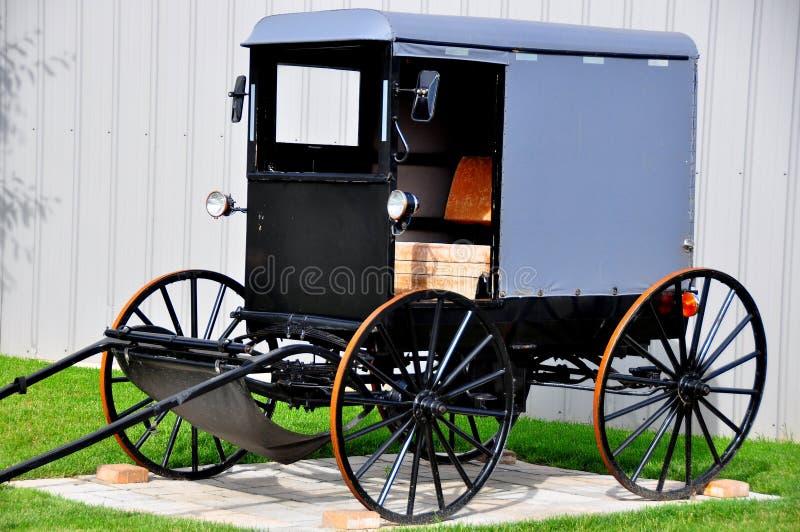 Lancaster County, PA: Traditioneller amischer Buggy lizenzfreie stockfotos