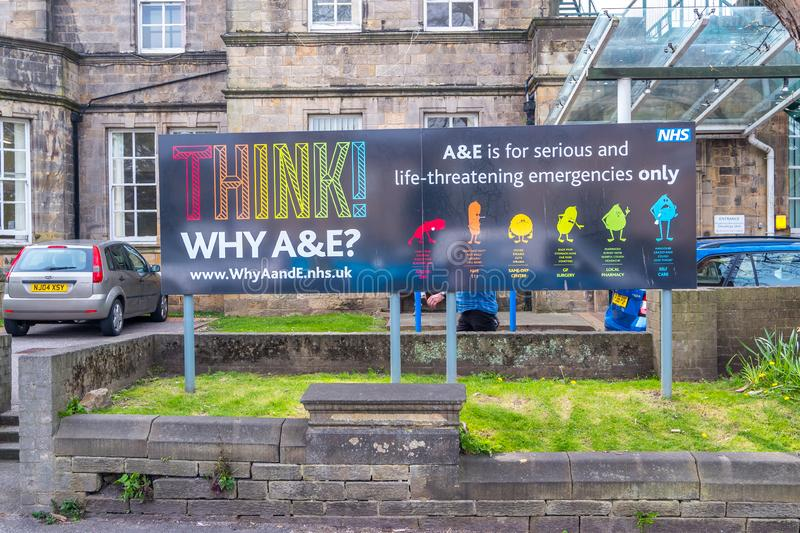 Lancaster england uk april 18 2019 Hospital sign Think why a and e royalty free stock photo