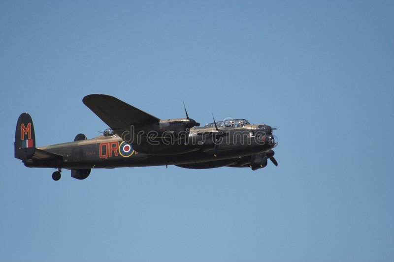 Lancaster in flight. At an airshow royalty free stock photo