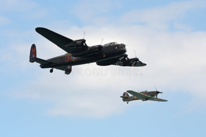 Lancaster and hurricane. stock photos