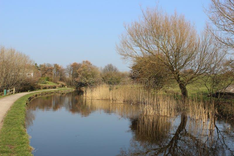 Lancaster kanal, Bolton le Sandpappra och Carnforth royaltyfria bilder