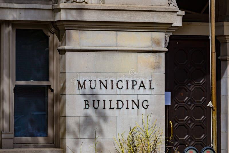 Lancaster miasta budynku Miejski znak a zdjęcia stock