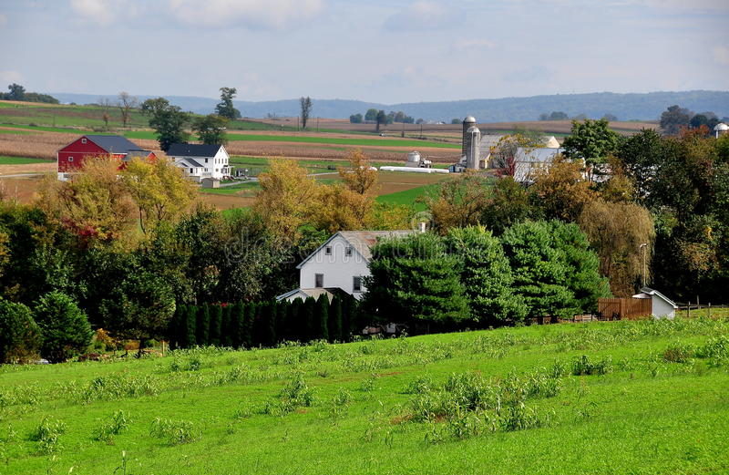 Lancaster, PA: Amish Farms. Lancaster County, Pennsylvania: Pristine Amish farms set amidst rolling farmlands royalty free stock image