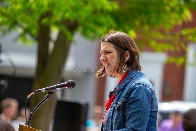 Jess King Democrat Candidate for Congress Speaking stock photos