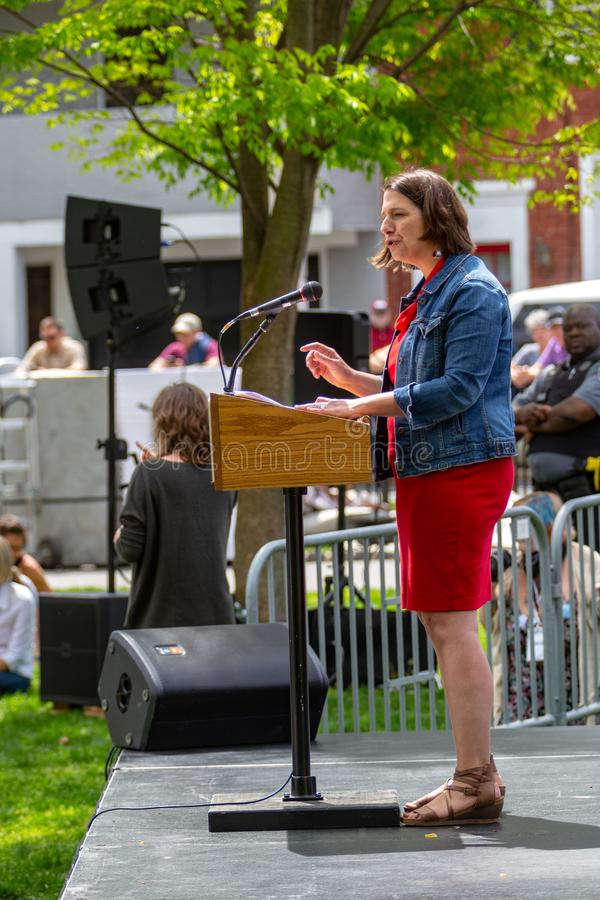Jess King Democrat for Congress Speaking. Lancaster, PA, USA - May 5, 2018: Jess King, Democrat congressional candidate for Pennsylvania's 11th District royalty free stock photos