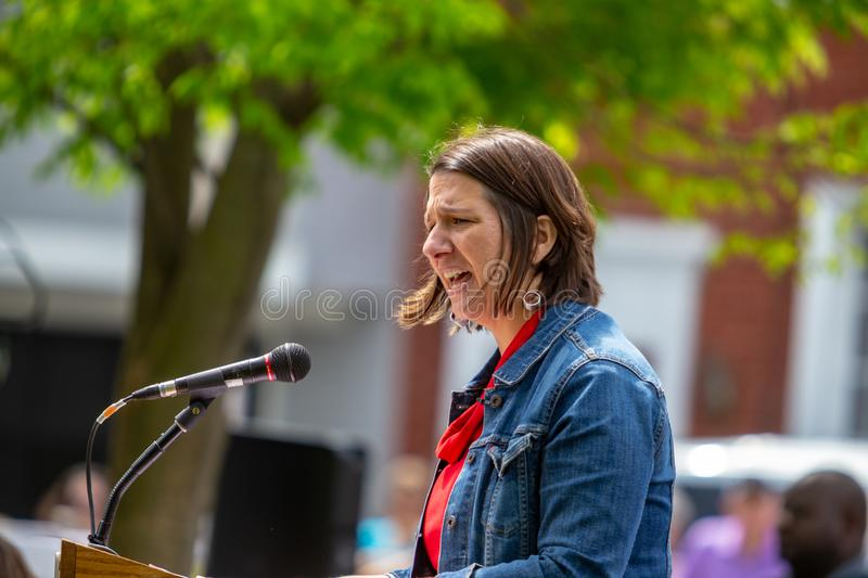 Jess King Democrat Candidate for Congress. Lancaster, PA, USA - May 5, 2018: Jess King, Democrat congressional candidate for Pennsylvania's 11th District royalty free stock photography