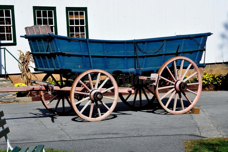 Lancaster, PA: Wagon at Amish Farm and House Museum stock images