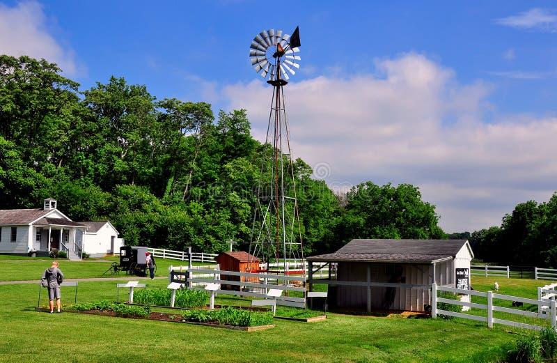 Lancaster, PA: Wiatraczek przy Amish wioski Plenerowym muzeum fotografia stock
