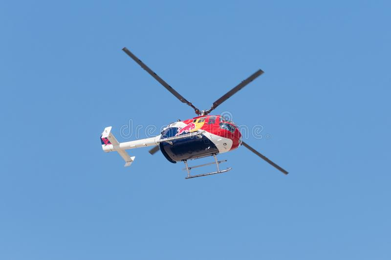 Red Bull Aerobatic Helicopter – BO-105 – Aaron Fitzgerald royalty free stock photography