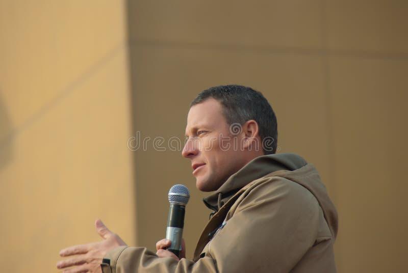 Lance Armstrong met de Troepen stock afbeeldingen