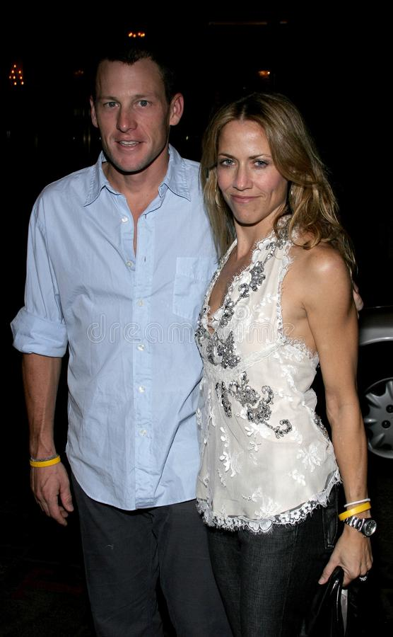 Lance Armstrong and Sheryl Crow stock images