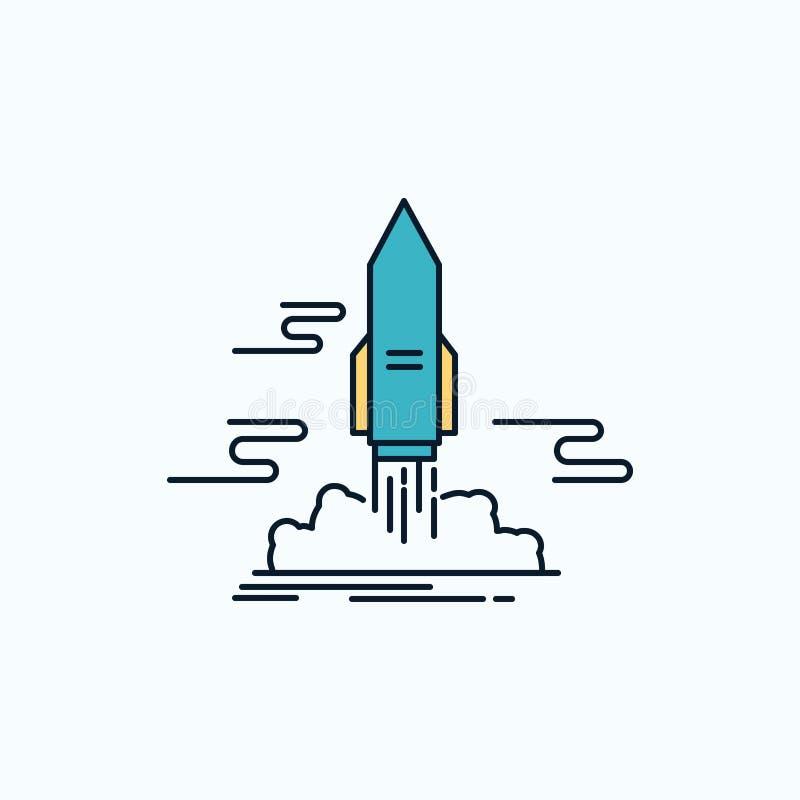 lance, publique, App, lanzadera, icono plano del espacio muestra y s?mbolos verdes y amarillos para la p?gina web y el appliation libre illustration